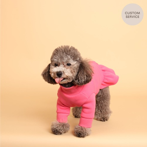 NAME TURTLENECK DRESS_HOTPINK